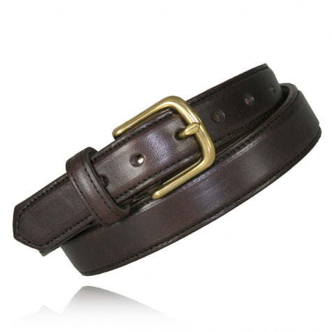 "1 1-4"" Brown Feather Edge Dress Belt"