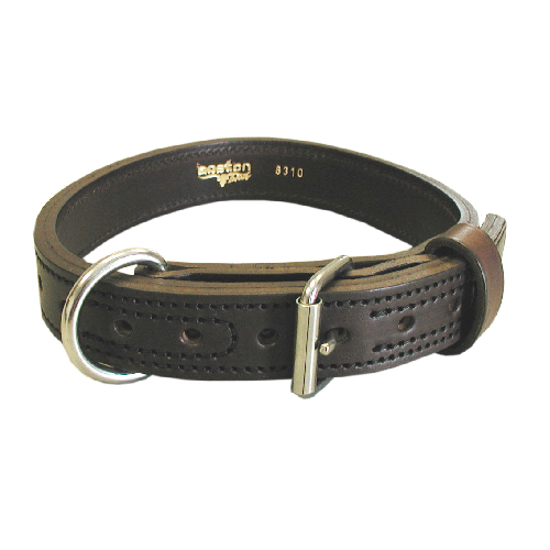 "Leather Agitation Dog Collar, 1.25"" With Nickel Hardware"