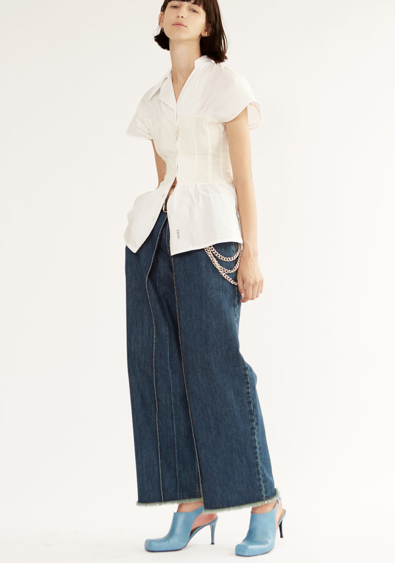 Cropped Jeans with Loose Pleats Dirty Blue