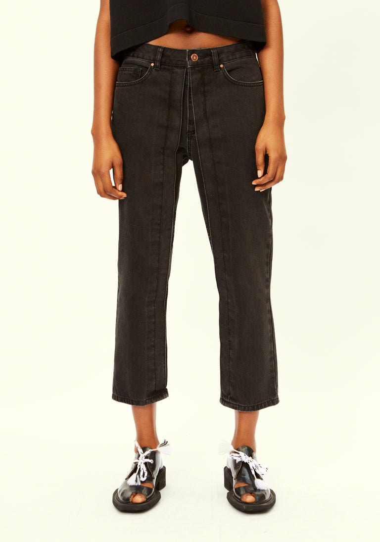 Cropped Jeans with Fixed Pleats Black