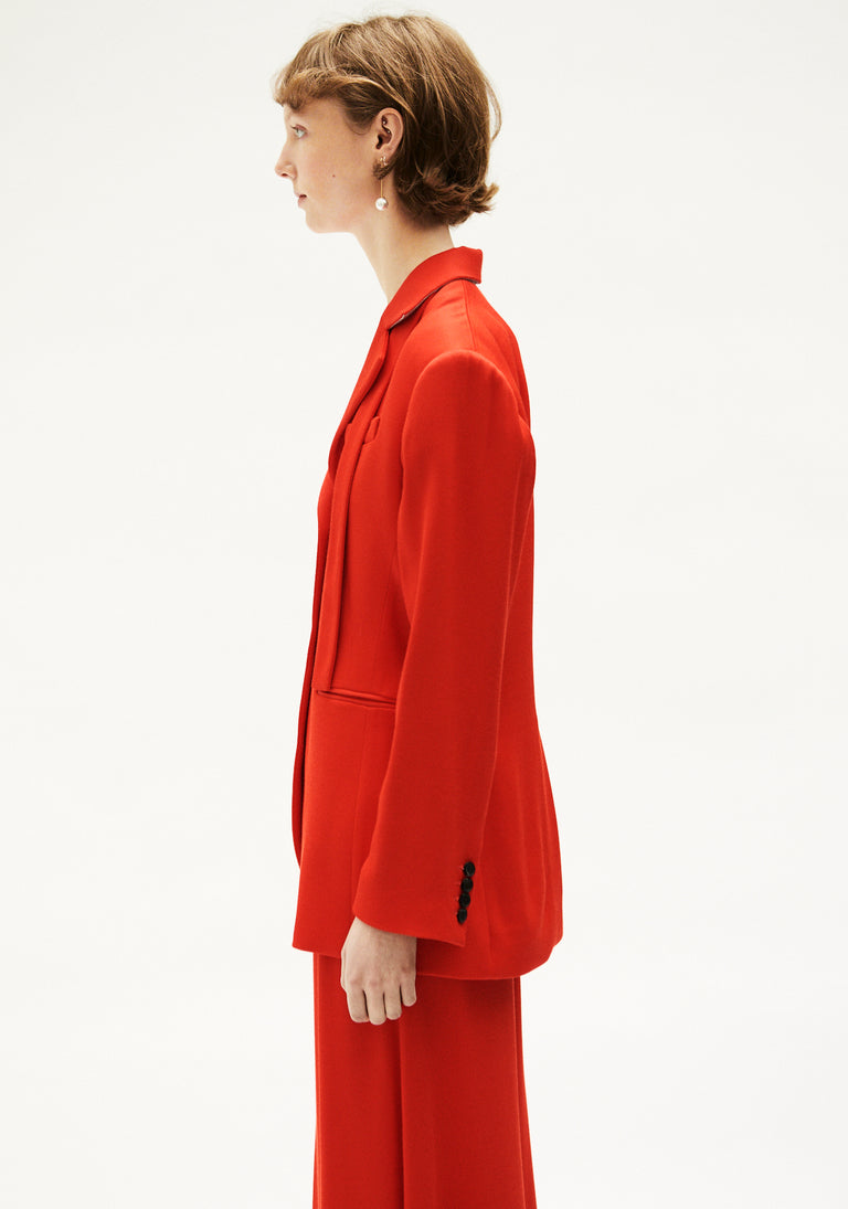 Tailored Jacket With Ribbon Red