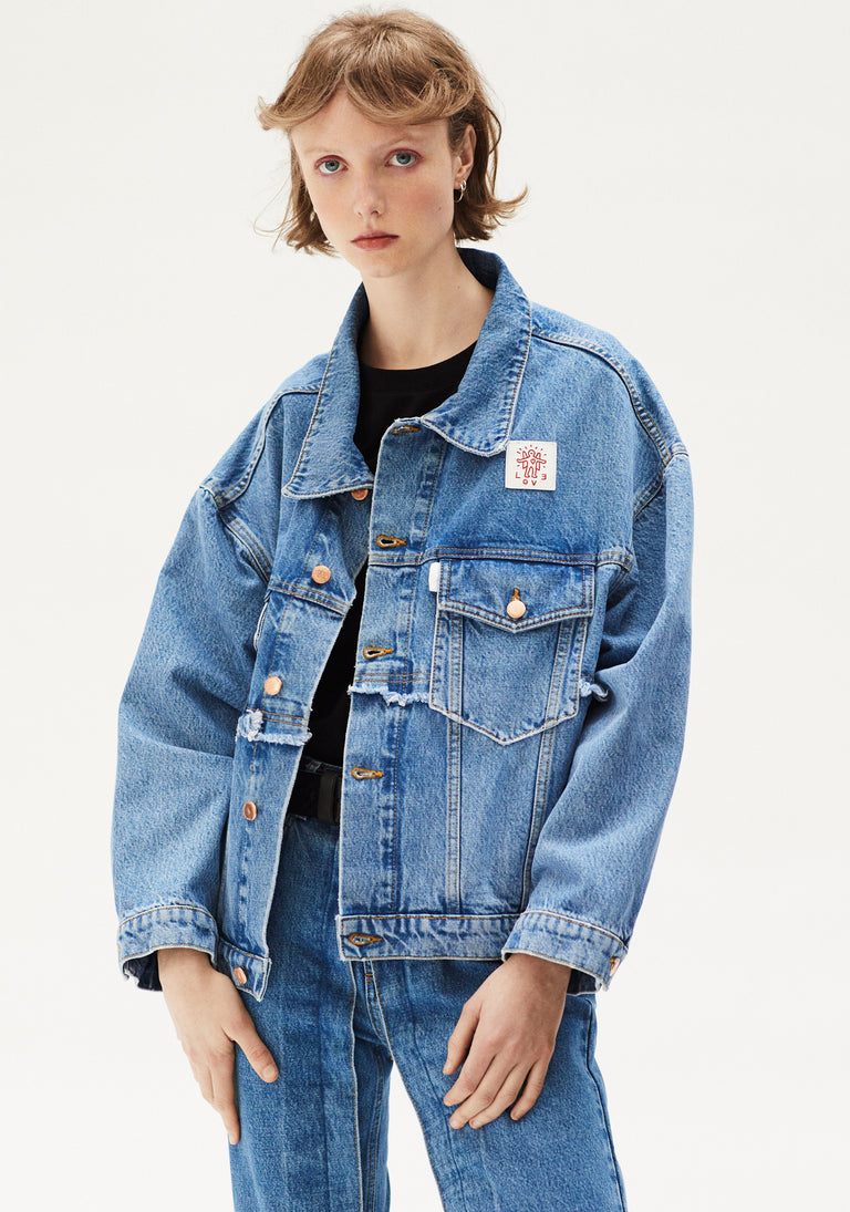 Oversized Denim Jacket Light Blue