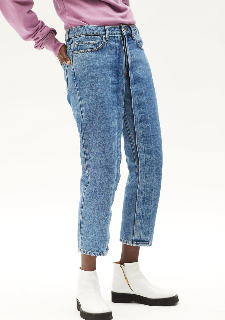 Cropped Jeans with Fixed Pleats Light Blue