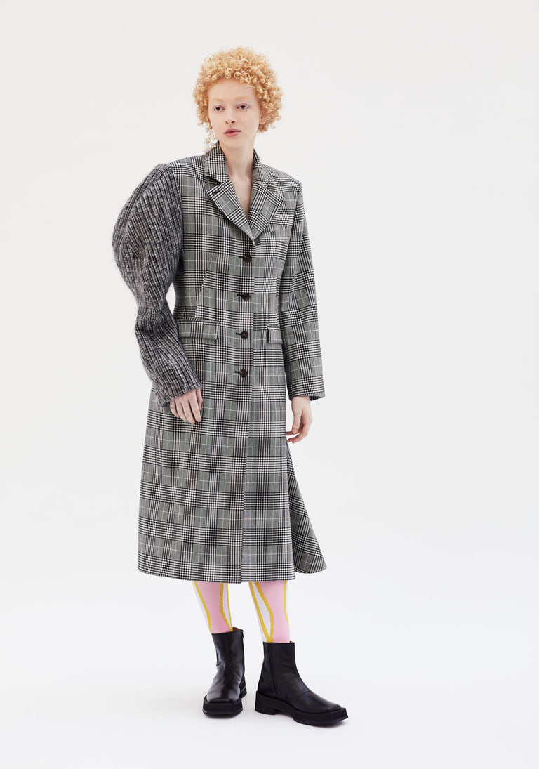 Coat with Sculptural Sleeve