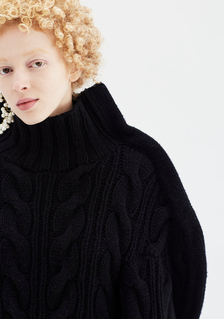 Sculptural Cable Knit Black
