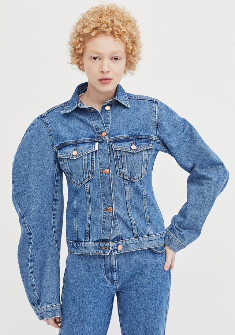 Denim Jacket with Sculptural Sleeve