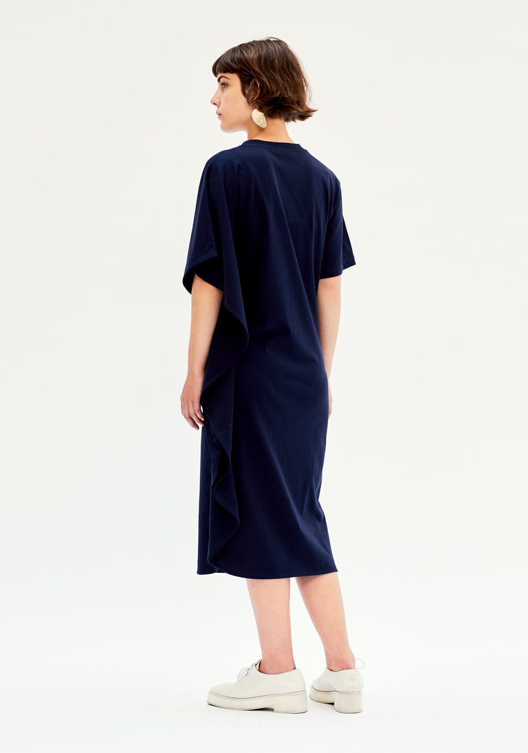 Asymmetric Navy Dress
