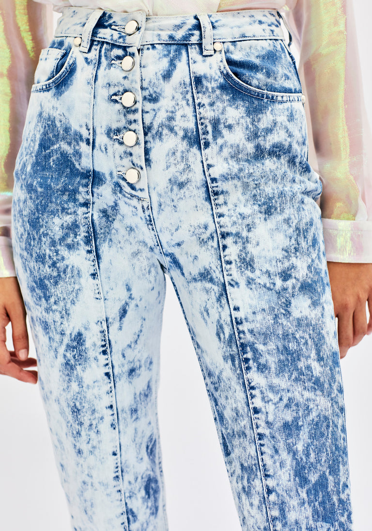 Cropped Tie and Dye Jeans