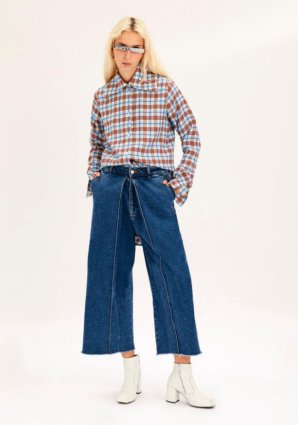 3441a565b810 Cropped Jeans with Pleats in 80's Blue