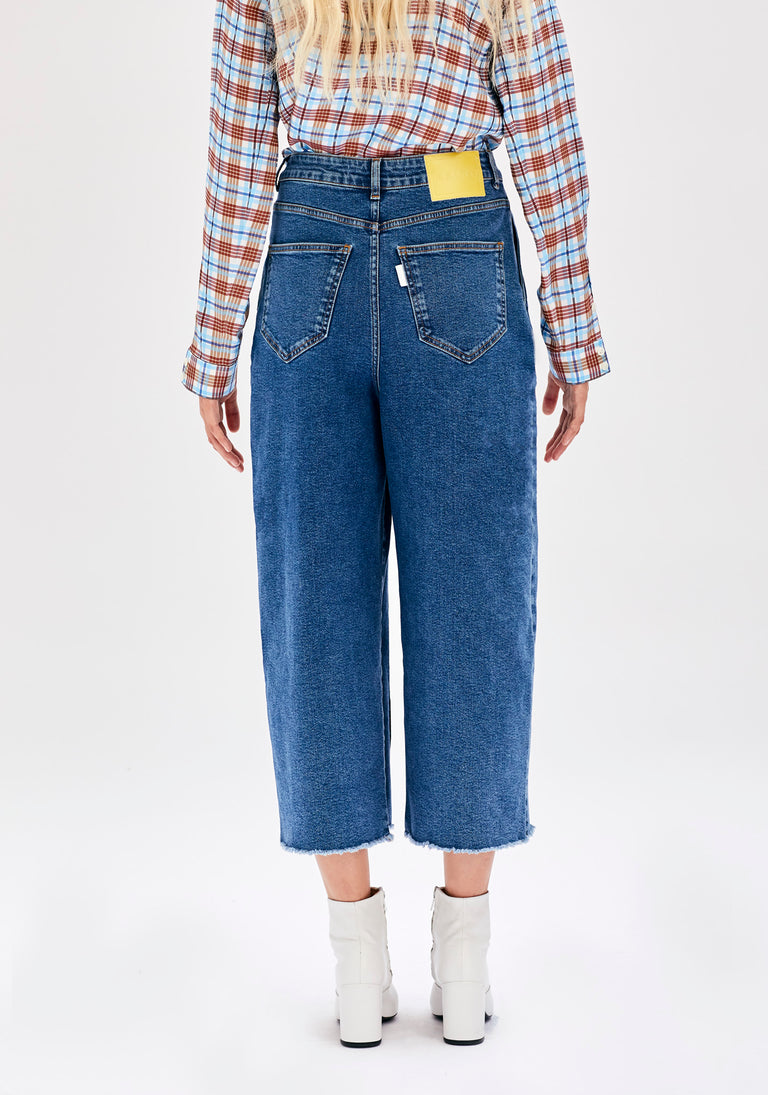 Cropped Jeans with Pleats in 80's Blue