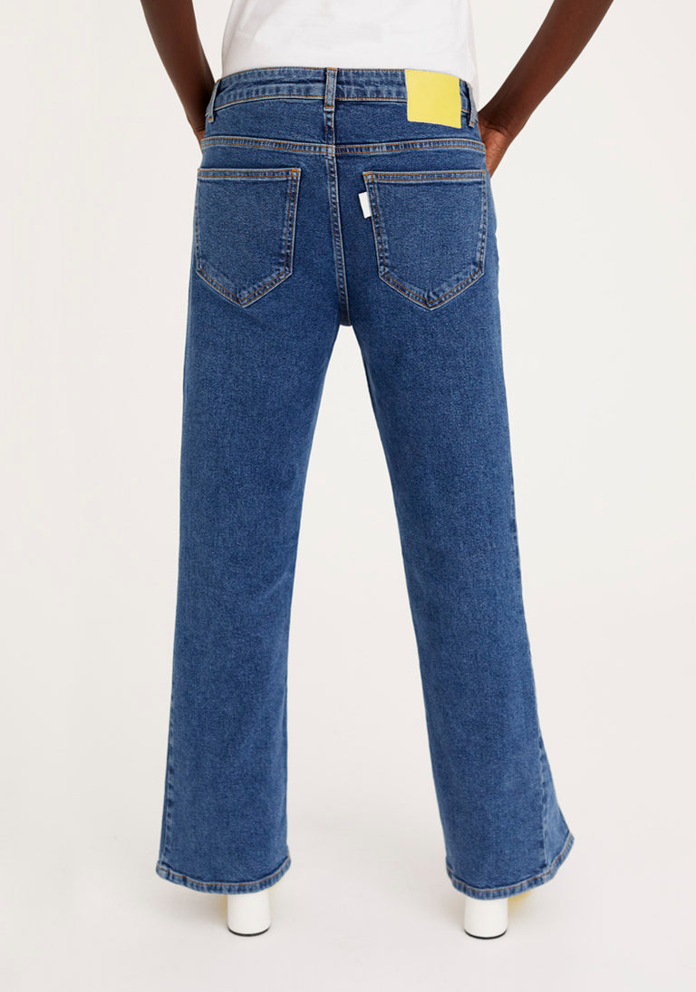 Flared Jeans with Fixed Pleats