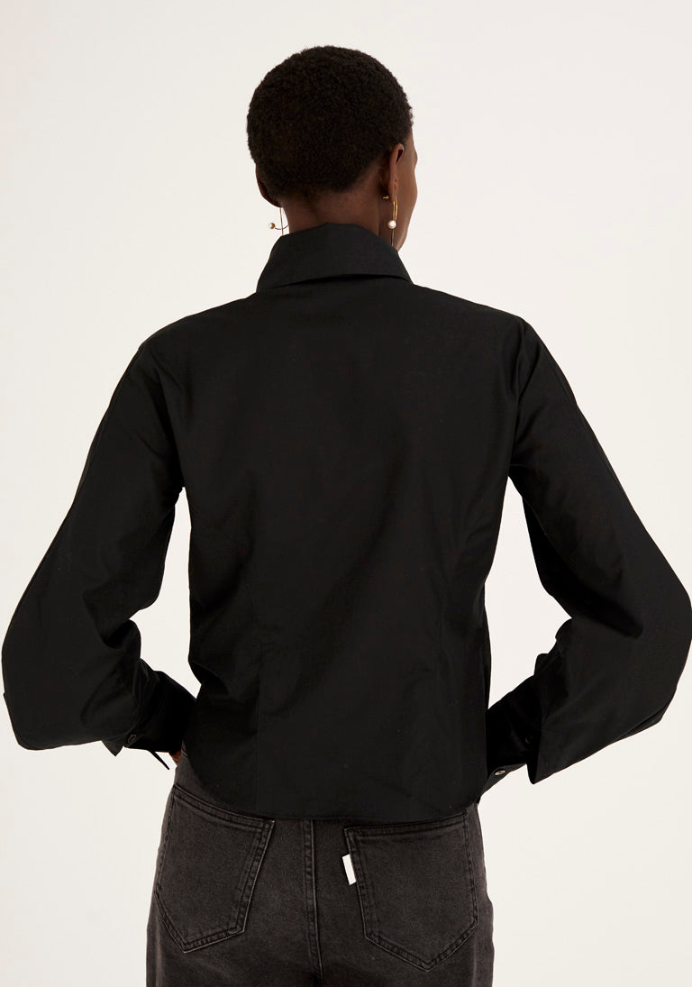 Sculptural Collar and Sleeves Black Shirt