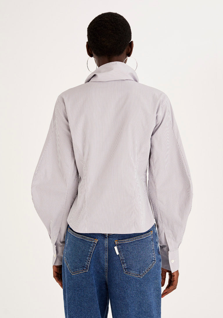 Sculptural Collar and Sleeves Grey Shirt