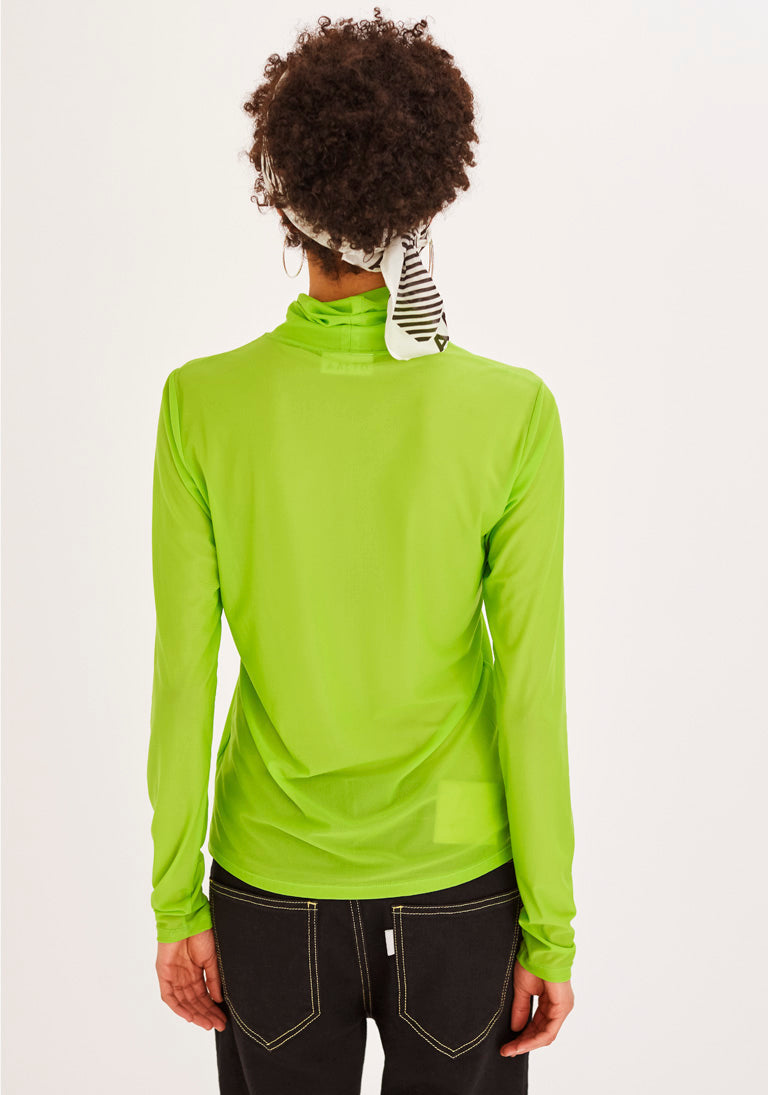Acid Green Turtleneck Top