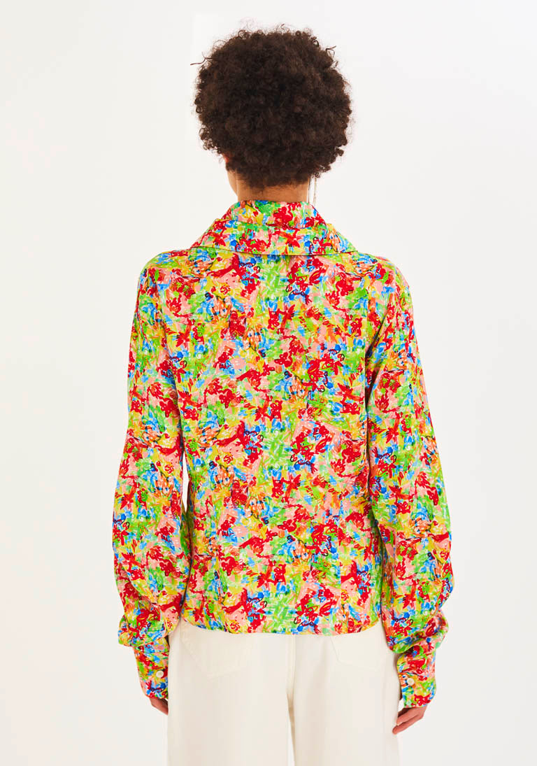 Flower-Print Sculptural Collar and Sleeves Shirt