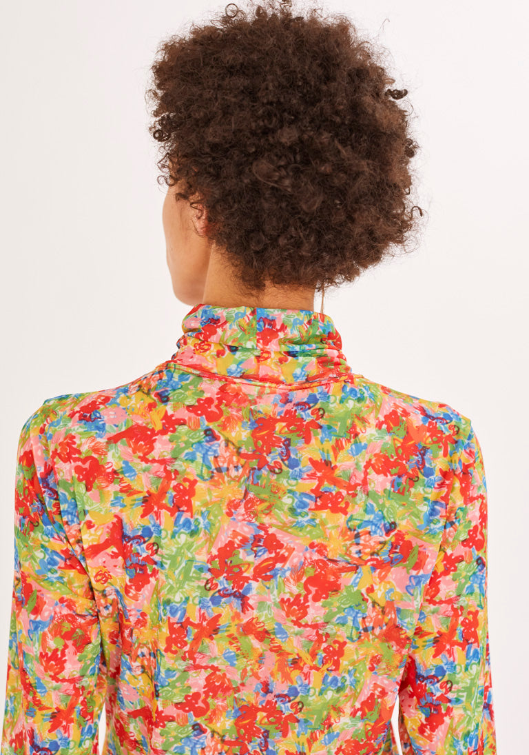 Flower-Print Turtleneck Top