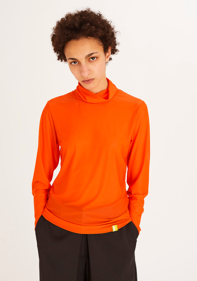 Bright Orange Turtleneck Top