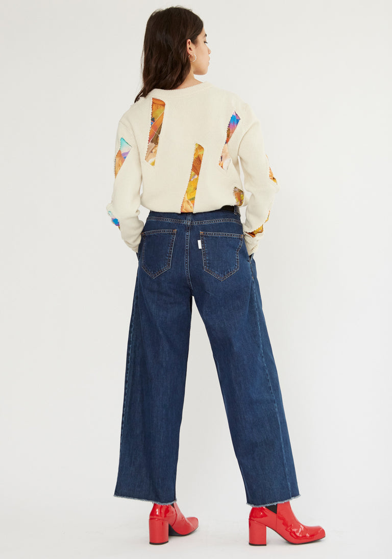 Cropped Jeans with Loose Pleats