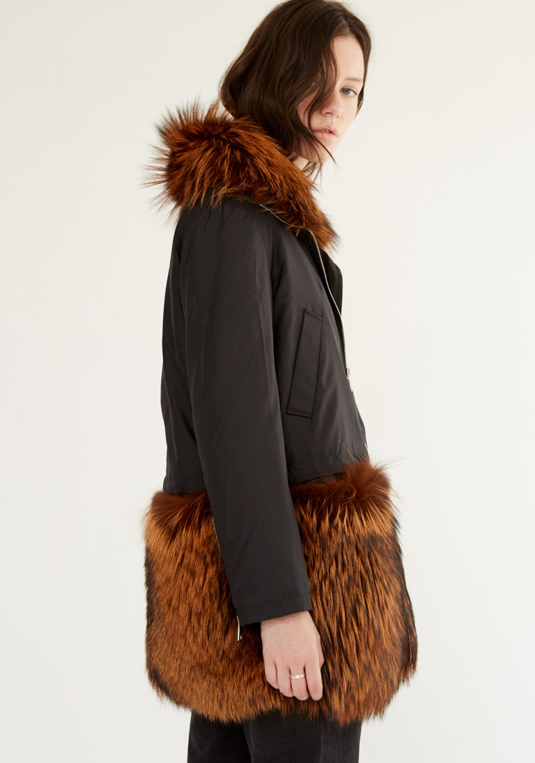 Silk Jacket With Fur Panel