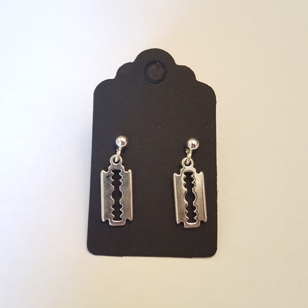 Razor blade earrings