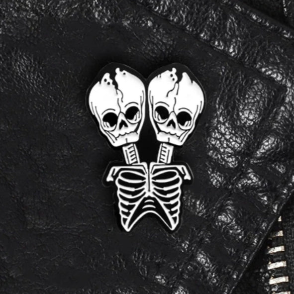 Two headed skeleton Pin