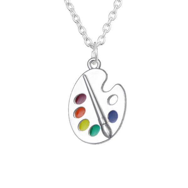 Artist paint palette necklace