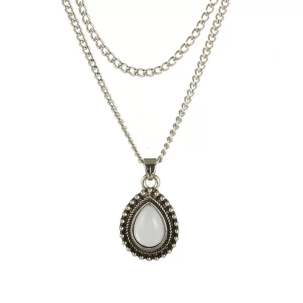 Double chain tear drop necklace