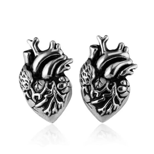 Anatomical heart stud earrings