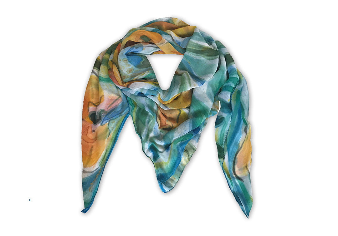 Flurry of Fleurs - Sharon Walia Handpainted Scarf