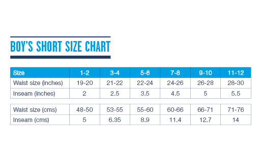 Tom & Teddy Boy's Short Size Chart