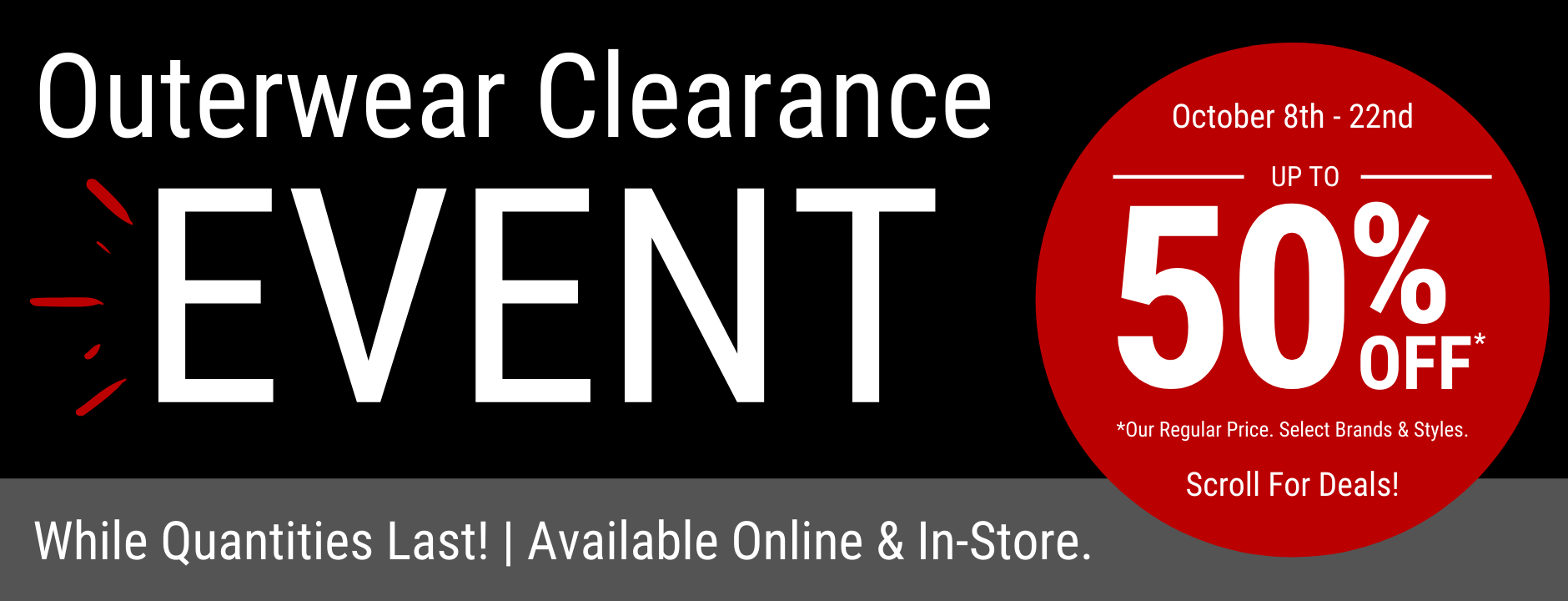 Outerwear Clearance Event