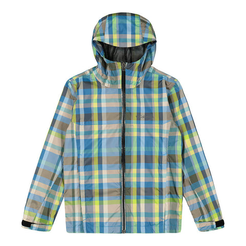 COLUMBIA YOUTH SPLASHMAKER RAIN JACKET COMPASS BLUE PLAID