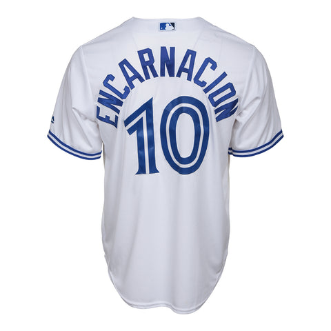 MAJESTIC MEN'S TORONTO BLUE JAYS COOLBASE ENCARNACION HOME JERSEY WHITE