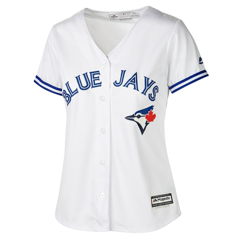 sale retailer d331d 30d9c MAJESTIC WOMEN'S TORONTO BLUE JAYS COOLBASE REPLICA HOME JERSEY WHITE
