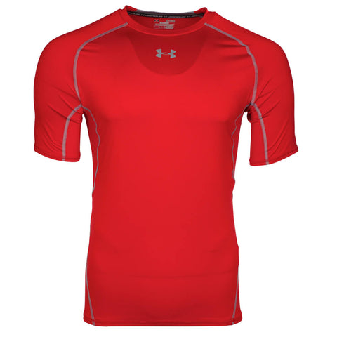 UNDER ARMOUR MEN'S HEAT GEAR ARMOUR COMPRESSION SHORT SLEEVE TOP RED