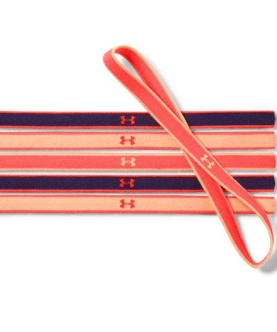 UNDER ARMOUR GIRLS MINI HEADBANDS 6 PACK  AFTERBURN/PEACH