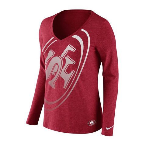 NIKE WOMEN'S SAN FRANCISCO 49ER'S TRIBLEND LOGO WRAP LONG SLEEVE TOP