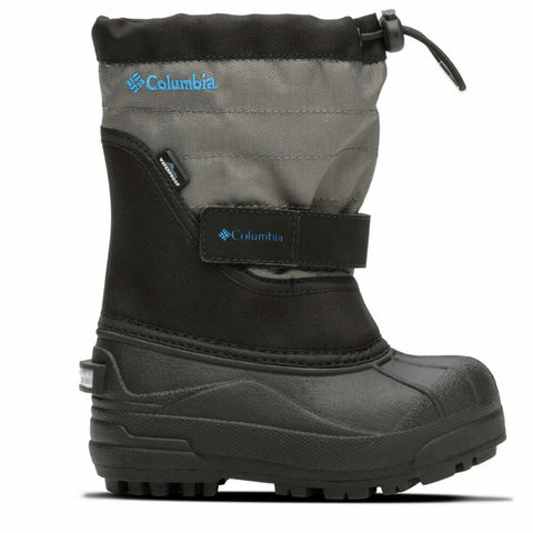 COLUMBIA BOYS POWDERBUG PLUS II WINTER BOOT BLACK/HYPER BLUE