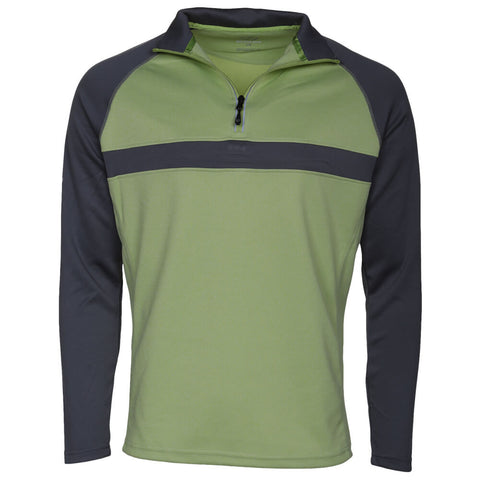 SECOND SKIN MEN'S CONTRAST 1/2 ZIP LONG SLEEVE TOP GREEN GLOW