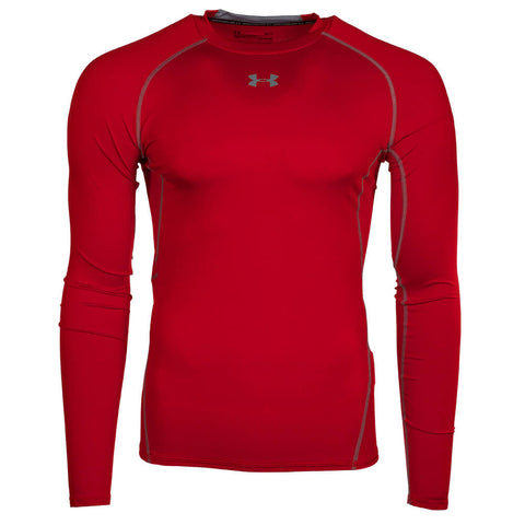 UNDER ARMOUR MEN'S HEATGEAR ARMOUR COMPRESSION LONG SLEEVE TOP RED/STEEL