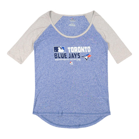 MAJESTIC WOMEN'S TORONTO BLUE JAYS AUTHENTIC COLLECTION TEAM ISSUE RAGLAN TOP