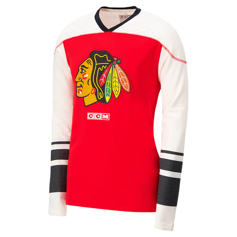 CCM MEN'S CHICAGO BLACKHAWKS LONG SLEEVE APPLIQUE CREW TOP