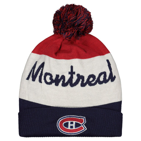 REEBOK MEN'S MONTREAL CANADIANS SCRIPTED CUFFED POM KNIT HAT