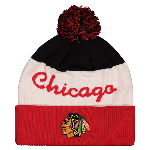 REEBOK MEN'S CHICAGO BLACKHAWKS SCRIPTED CUFFED POM KNIT HAT