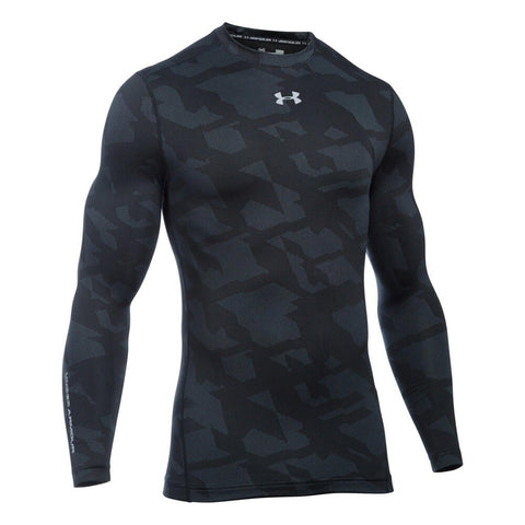 UNDER ARMOUR MEN'S COLDGEAR ARMOUR JACQUARD CREW TOP BLACK