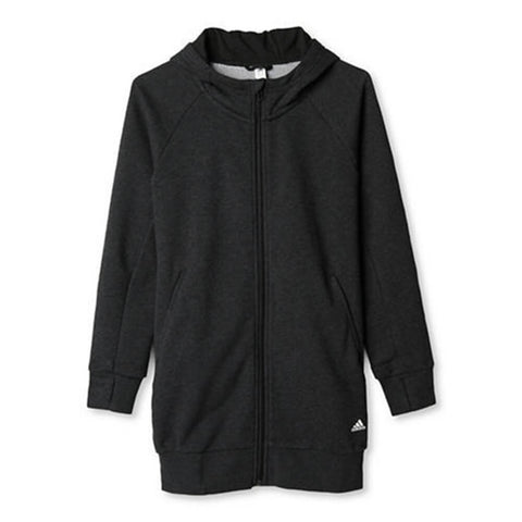ADIDAS GIRL'S ATHLETICS FULL ZIP HOODY BLACK MELANGE