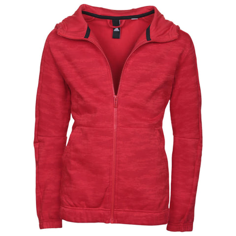ADIDAS BOY'S ATHLETIC HEATER FULL ZIP HOODY VIVID RED