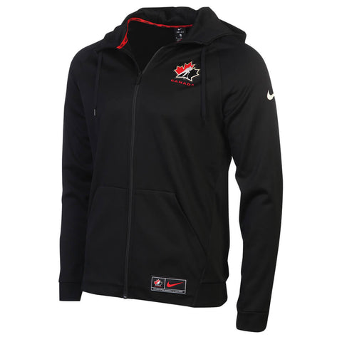 NIKE MEN'S TEAM CANADA PREMIUM FULL ZIP THERMAL HOODY BLACK