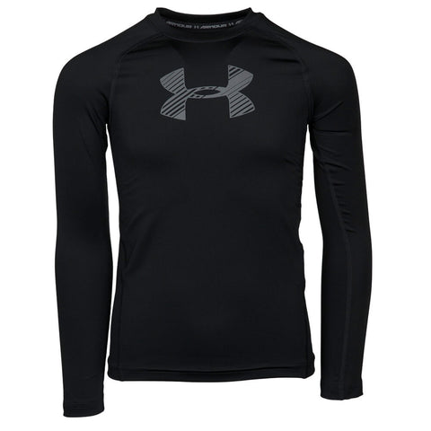 UNDER ARMOUR BOYS HEATGEAR ARMOUR LONG SLEEVE TOP BLACK/GRAPHITE