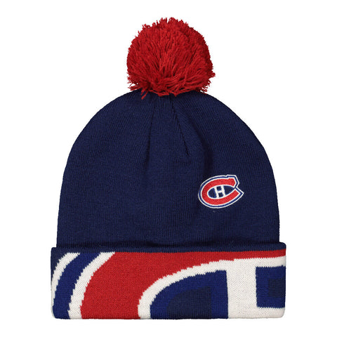 REEBOK YOUTH MONTREAL CANADIENS FAN JACQUARD CUFF POM HAT